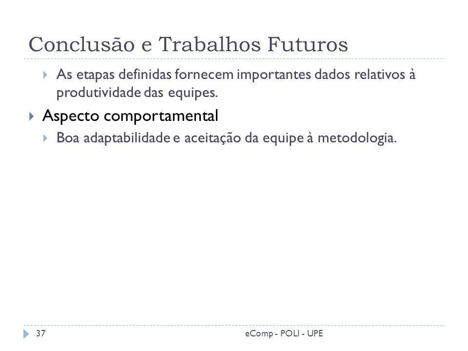 Conclusão e Trabalhos Futuros As etapas definidas fornecem importantes dados relativos à produtividade das equipes. Aspecto comportamental Boa adaptab