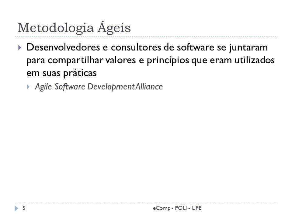 Metodologia Ágeis eComp - POLI - UPE5 Desenvolvedores e consultores de software se juntaram para compartilhar valores e princípios que eram utilizados