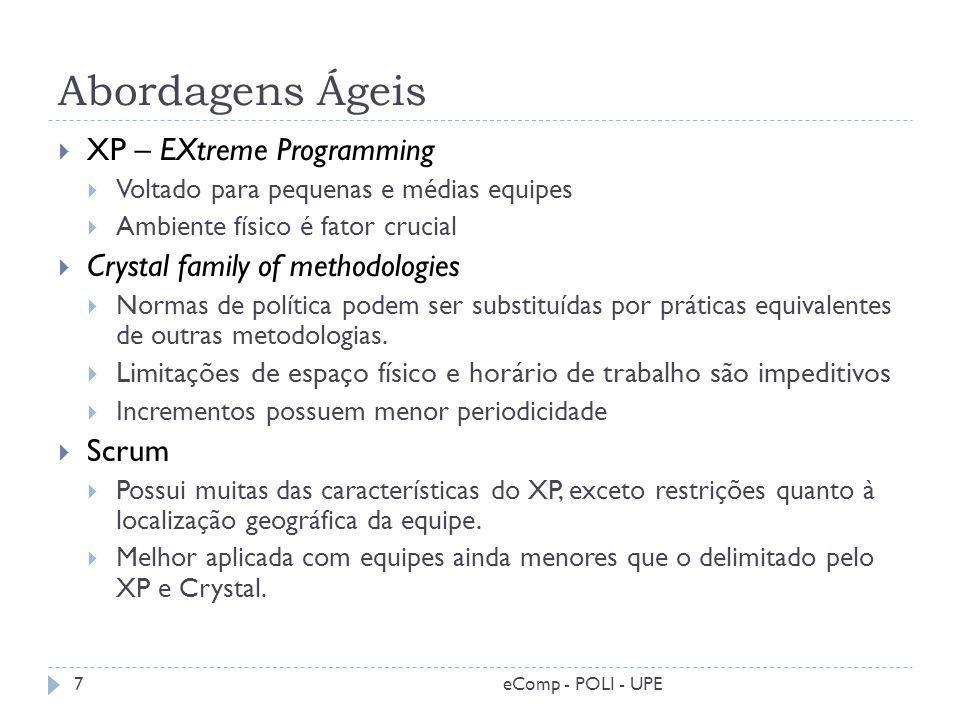 Abordagens Ágeis XP – EXtreme Programming Voltado para pequenas e médias equipes Ambiente físico é fator crucial Crystal family of methodologies Norma