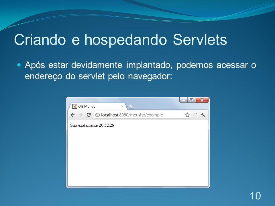 Criando e hospedando Servlets Após estar devidamente implantado, podemos acessar o endereço do servlet pelo navegador: 10