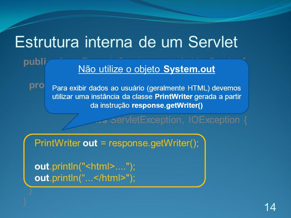 Estrutura interna de um Servlet 14 public class ExemploServlet extends HttpServlet { protected void doGet( HttpServletRequest request, HttpServletResponse response) throws ServletException, IOException { PrintWriter out = response.getWriter(); out.println( .... ); out.println(...