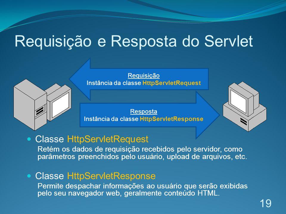 Requisição e Resposta do Servlet 19 Requisição Instância da classe HttpServletRequest Resposta Instância da classe HttpServletResponse Classe HttpServletRequest Retém os dados de requisição recebidos pelo servidor, como parâmetros preenchidos pelo usuário, upload de arquivos, etc.