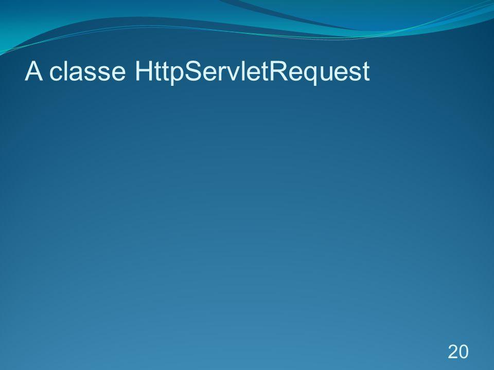A classe HttpServletRequest 20