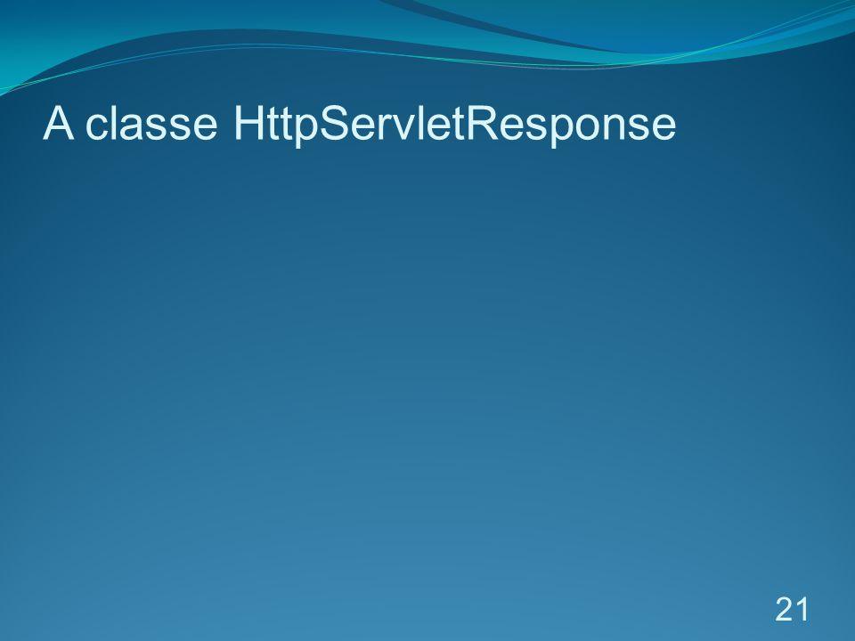 A classe HttpServletResponse 21