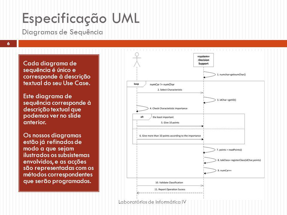 Especificação UML Diagramas de Sequência Laboratórios de Informática IV 6 Cada diagrama de sequência é único e corresponde à descrição textual do seu