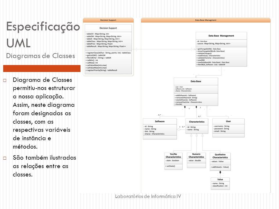 Laboratórios de Informática IV Especificação UML Diagramas de Classes Diagrama de Classes permitiu-nos estruturar a nossa aplicação. Assim, neste diag