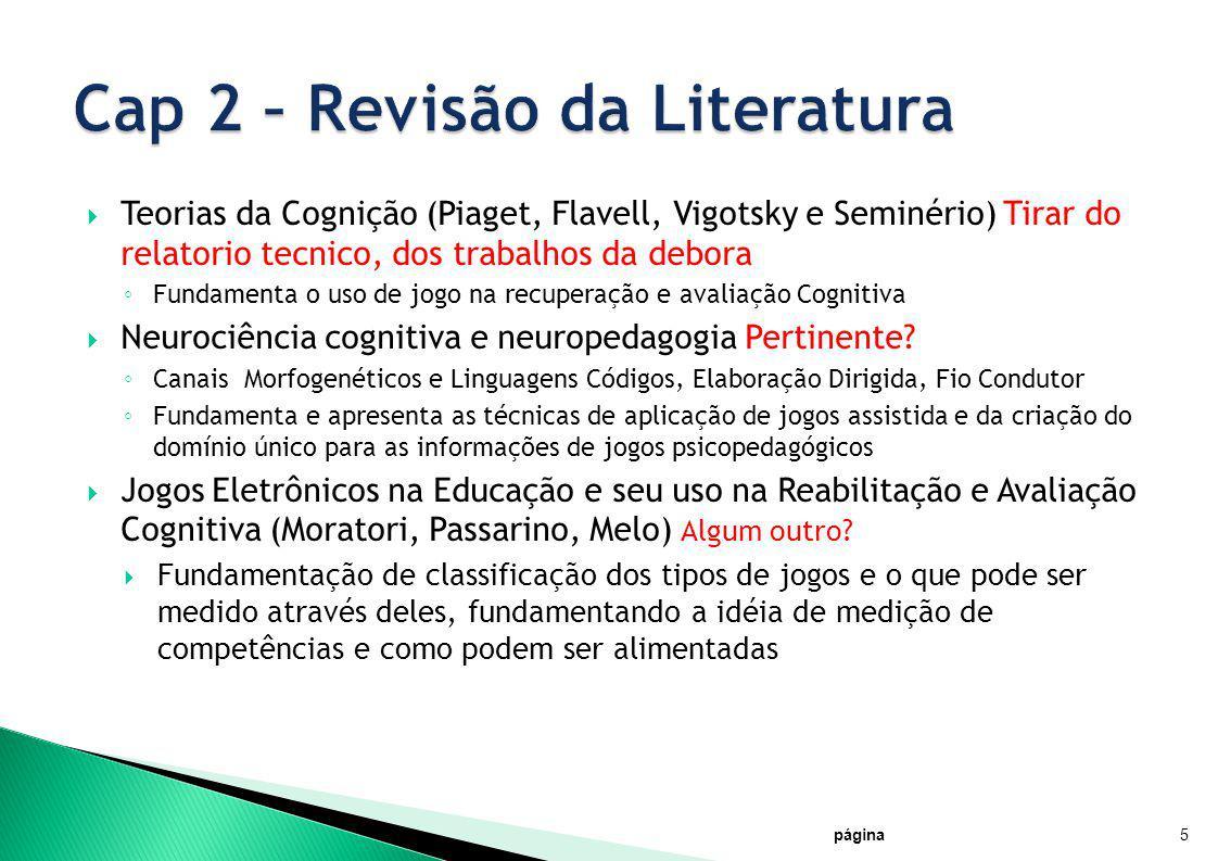 Teorias da Cognição (Piaget, Flavell, Vigotsky e Seminério) Tirar do relatorio tecnico, dos trabalhos da debora Fundamenta o uso de jogo na recuperaçã