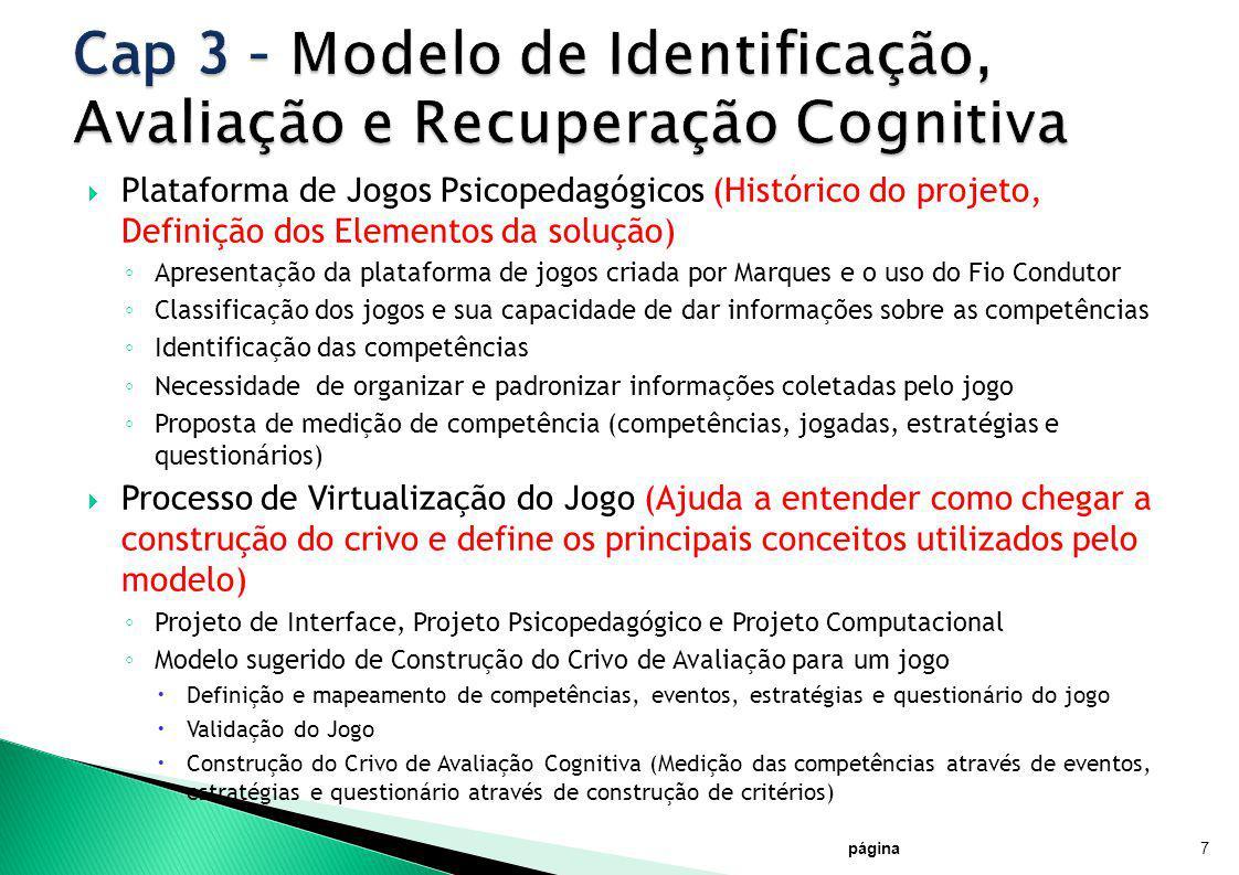 Plataforma de Jogos Psicopedagógicos (Histórico do projeto, Definição dos Elementos da solução) Apresentação da plataforma de jogos criada por Marques