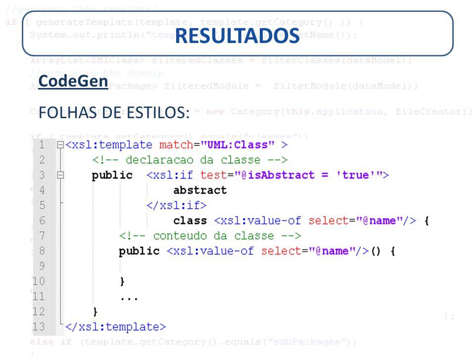 RESULTADOS CodeGen FOLHAS DE ESTILOS: