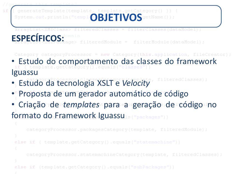 OBJETIVOS ESPECÍFICOS: Estudo do comportamento das classes do framework Iguassu Estudo da tecnologia XSLT e Velocity Proposta de um gerador automático