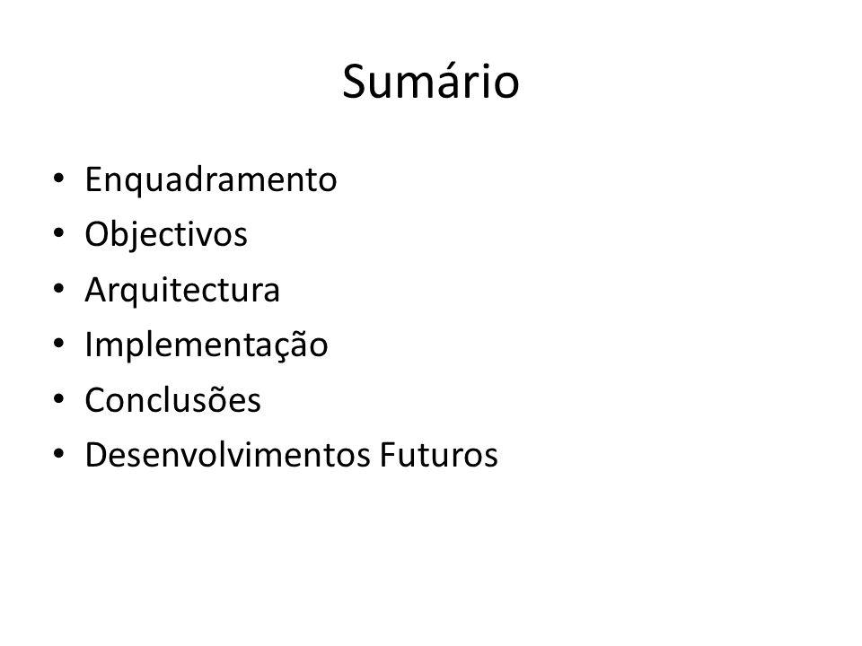 Sumário Enquadramento Objectivos Arquitectura Implementação Conclusões Desenvolvimentos Futuros