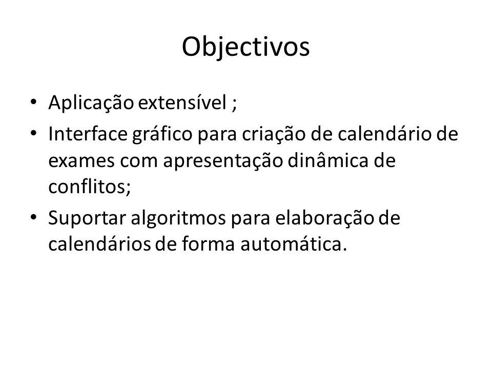 Objectivos Aplicação extensível ; Interface gráfico para criação de calendário de exames com apresentação dinâmica de conflitos; Suportar algoritmos para elaboração de calendários de forma automática.