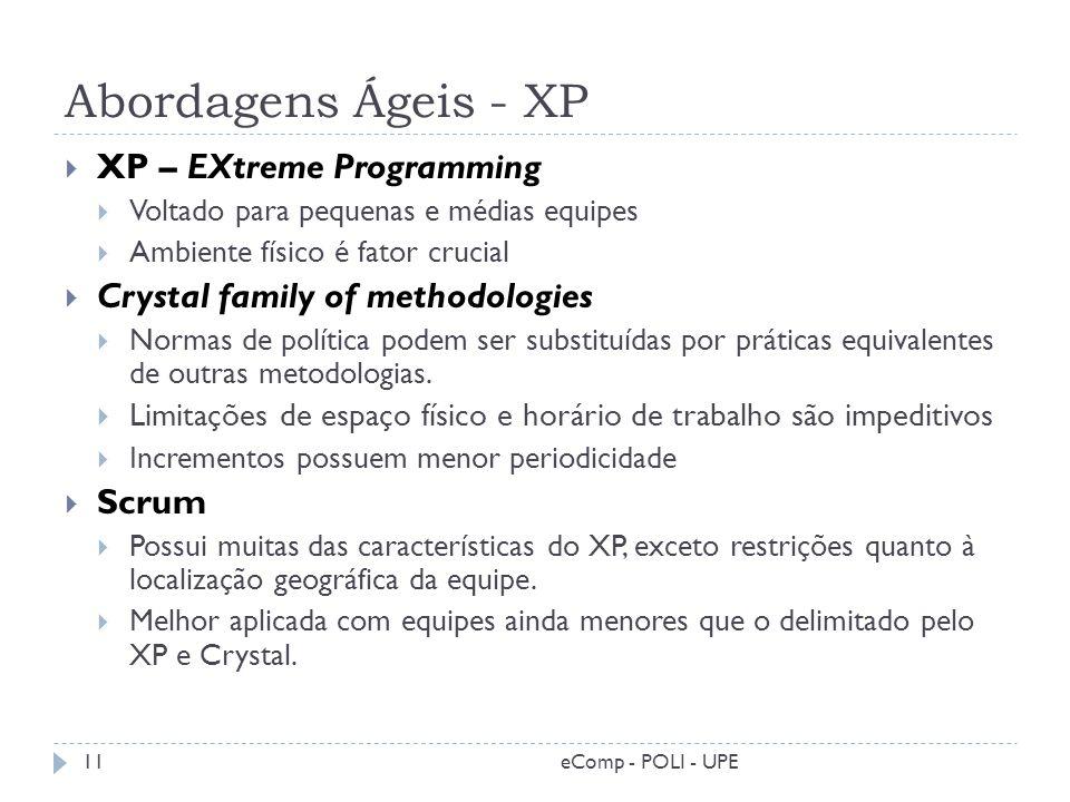 Abordagens Ágeis - XP XP – EXtreme Programming Voltado para pequenas e médias equipes Ambiente físico é fator crucial Crystal family of methodologies