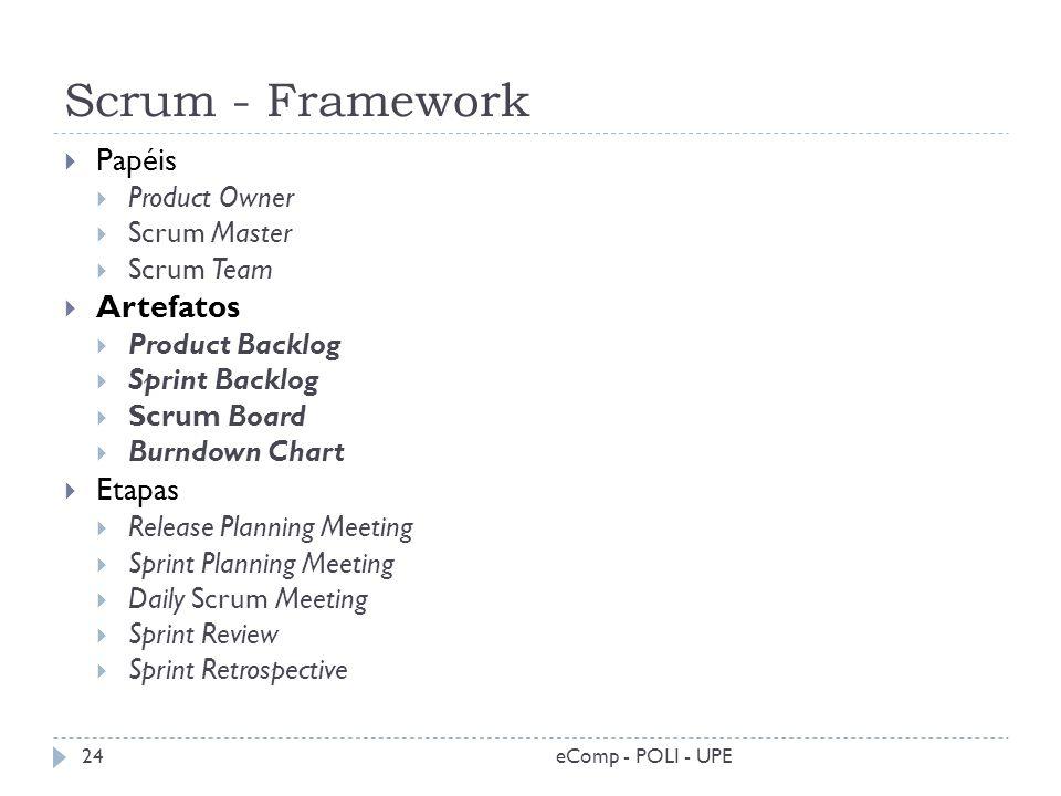 Scrum - Framework eComp - POLI - UPE24 Papéis Product Owner Scrum Master Scrum Team Artefatos Product Backlog Sprint Backlog Scrum Board Burndown Char
