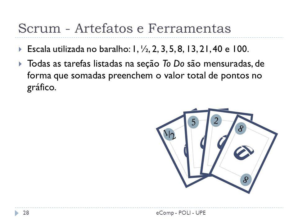 Scrum - Artefatos e Ferramentas eComp - POLI - UPE28 Escala utilizada no baralho: 1, ½, 2, 3, 5, 8, 13, 21, 40 e 100. Todas as tarefas listadas na seç