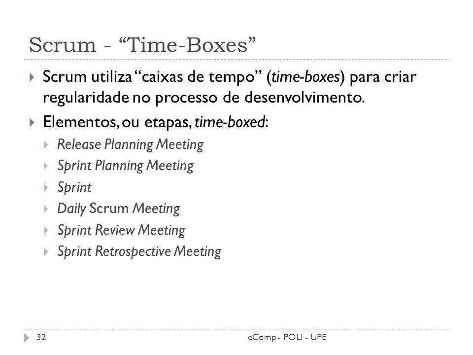 Scrum - Time-Boxes Scrum utiliza caixas de tempo (time-boxes) para criar regularidade no processo de desenvolvimento. Elementos, ou etapas, time-boxed
