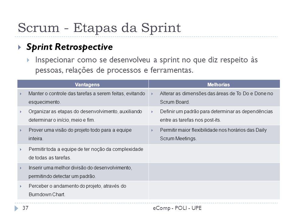 Scrum - Etapas da Sprint Sprint Retrospective Inspecionar como se desenvolveu a sprint no que diz respeito às pessoas, relações de processos e ferrame