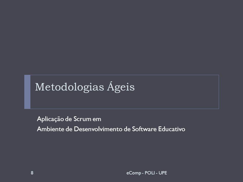 Scrum - Ciclo de Desenvolvimento Correlação com o Ambiente Escolha de uma metodologia simples de ser rapidamente assimilada e aplicada pelos coordenadores.