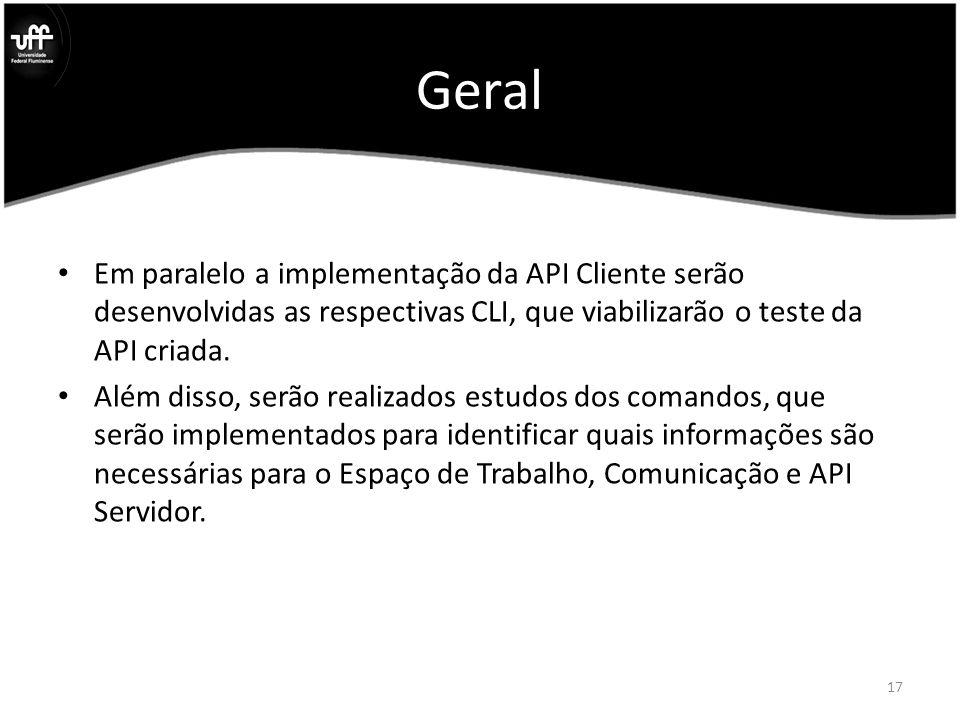 Geral Em paralelo a implementação da API Cliente serão desenvolvidas as respectivas CLI, que viabilizarão o teste da API criada.