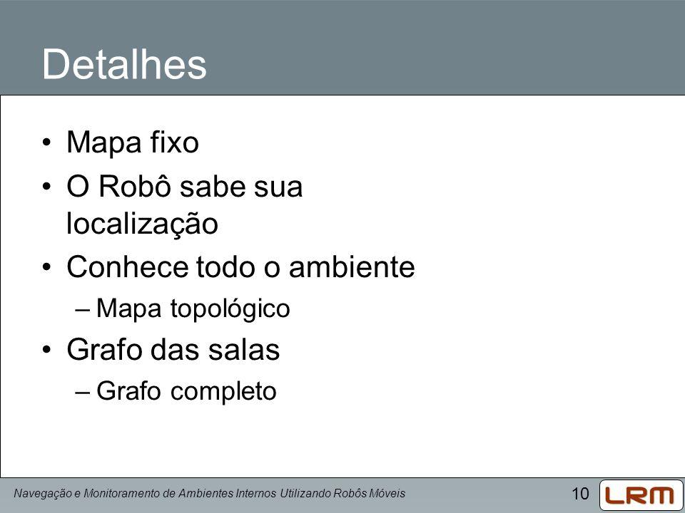 10 Detalhes Mapa fixo O Robô sabe sua localização Conhece todo o ambiente –Mapa topológico Grafo das salas –Grafo completo Navegação e Monitoramento d
