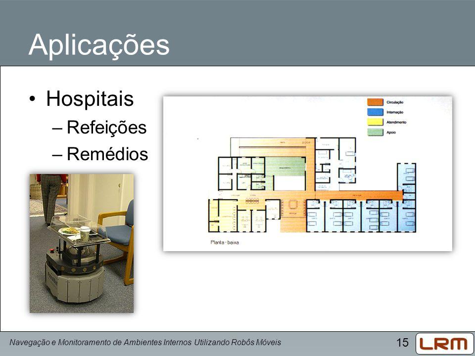 15 Aplicações Hospitais –Refeições –Remédios Navegação e Monitoramento de Ambientes Internos Utilizando Robôs Móveis