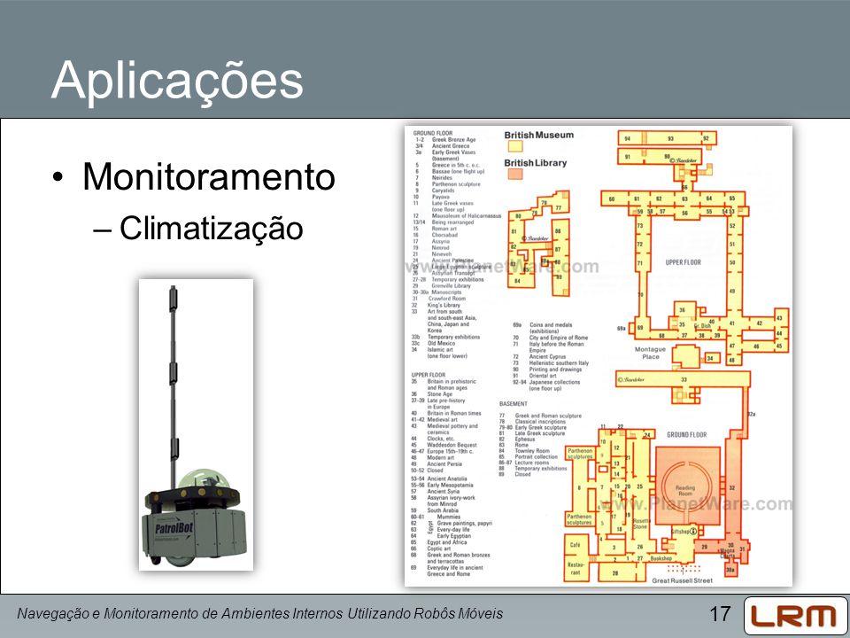 17 Aplicações Monitoramento –Climatização Navegação e Monitoramento de Ambientes Internos Utilizando Robôs Móveis