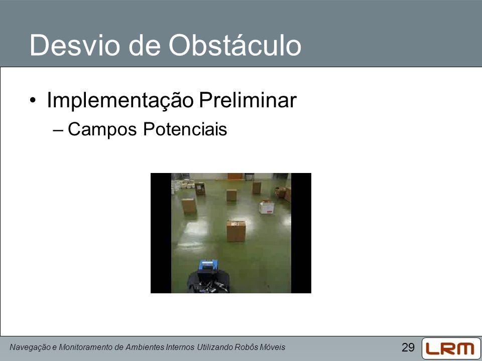 29 Desvio de Obstáculo Implementação Preliminar –Campos Potenciais Navegação e Monitoramento de Ambientes Internos Utilizando Robôs Móveis