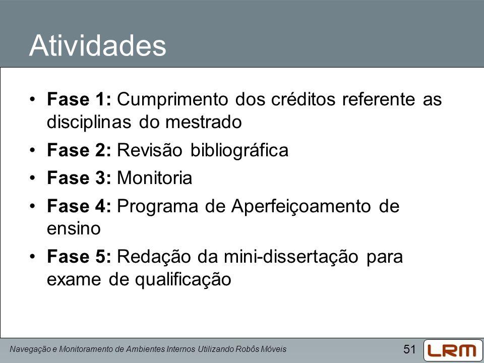 51 Atividades Fase 1: Cumprimento dos créditos referente as disciplinas do mestrado Fase 2: Revisão bibliográfica Fase 3: Monitoria Fase 4: Programa d