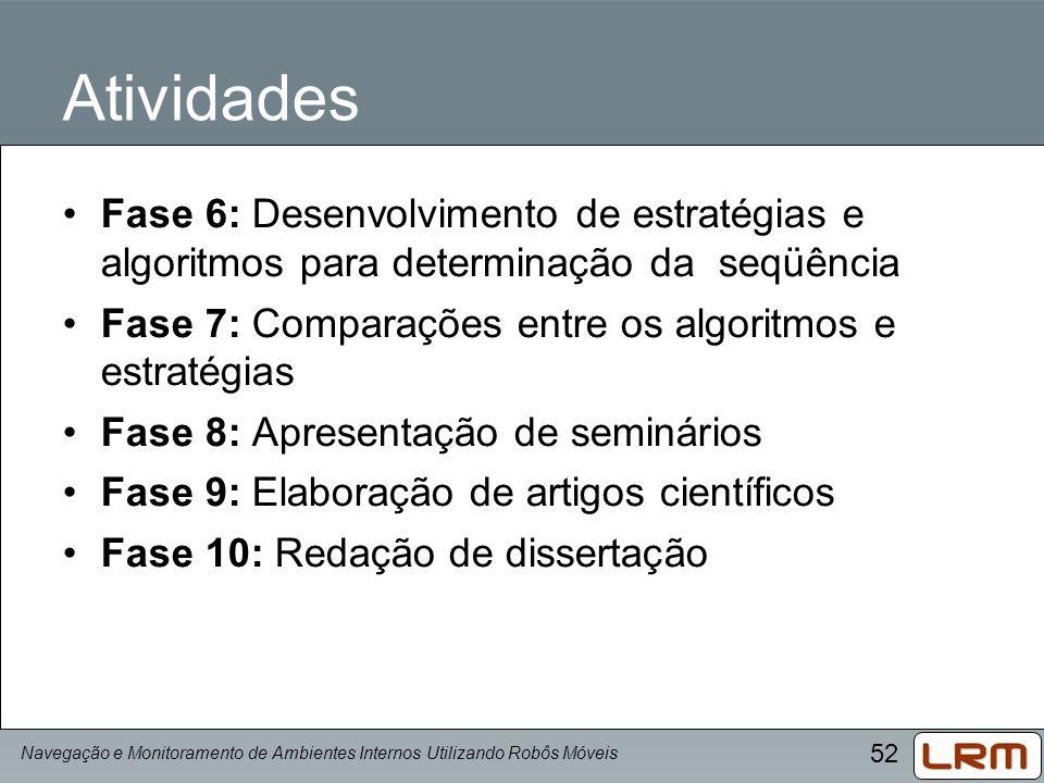 52 Atividades Fase 6: Desenvolvimento de estratégias e algoritmos para determinação da seqüência Fase 7: Comparações entre os algoritmos e estratégias