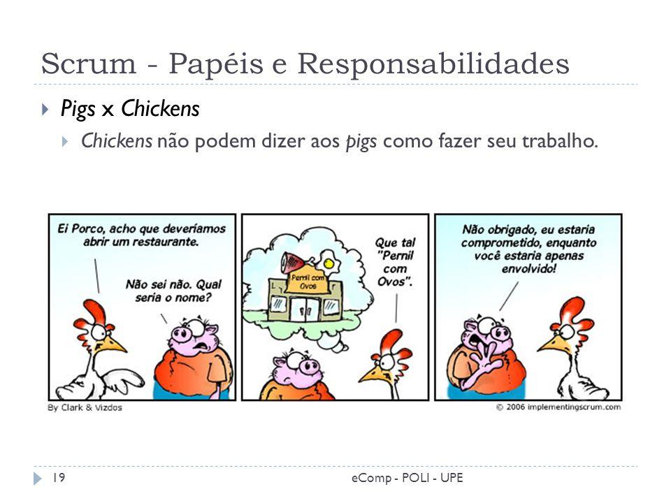 Scrum - Papéis e Responsabilidades Pigs x Chickens Chickens não podem dizer aos pigs como fazer seu trabalho. 19eComp - POLI - UPE