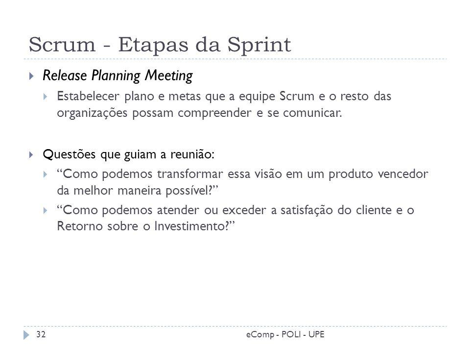 Scrum - Etapas da Sprint Release Planning Meeting Estabelecer plano e metas que a equipe Scrum e o resto das organizações possam compreender e se comu
