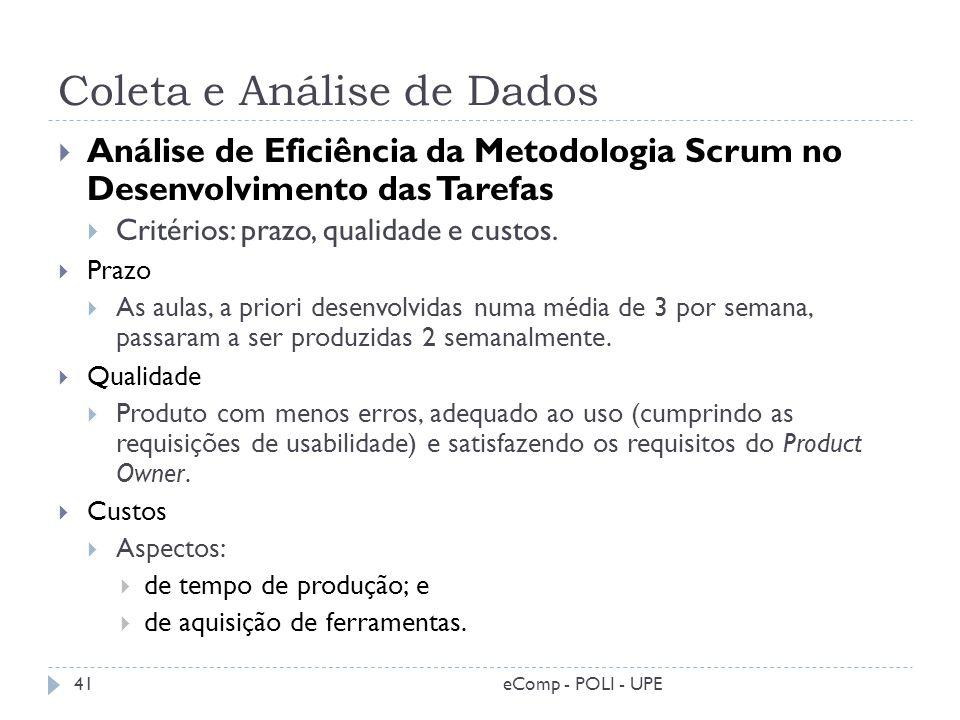 Coleta e Análise de Dados Análise de Eficiência da Metodologia Scrum no Desenvolvimento das Tarefas Critérios: prazo, qualidade e custos. Prazo As aul