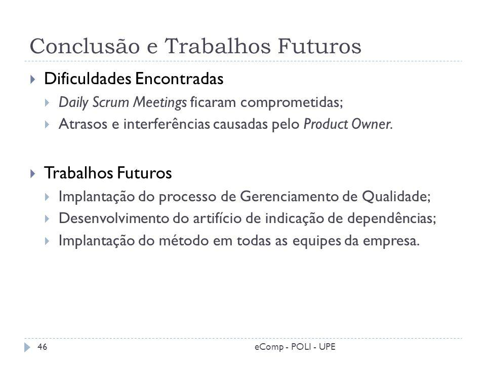 Conclusão e Trabalhos Futuros Dificuldades Encontradas Daily Scrum Meetings ficaram comprometidas; Atrasos e interferências causadas pelo Product Owne