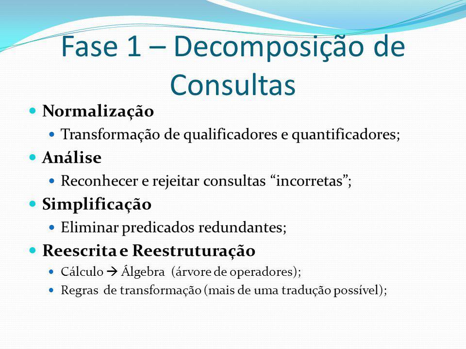 Fase 1 – Decomposição de Consultas Normalização Transformação de qualificadores e quantificadores; Análise Reconhecer e rejeitar consultas incorretas;