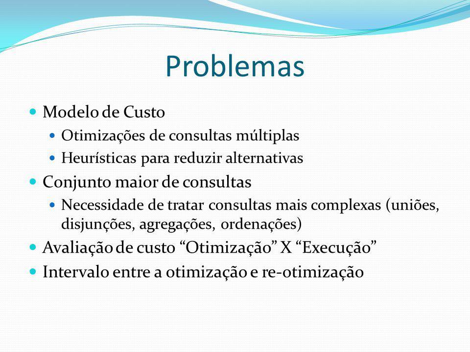 Problemas Modelo de Custo Otimizações de consultas múltiplas Heurísticas para reduzir alternativas Conjunto maior de consultas Necessidade de tratar c