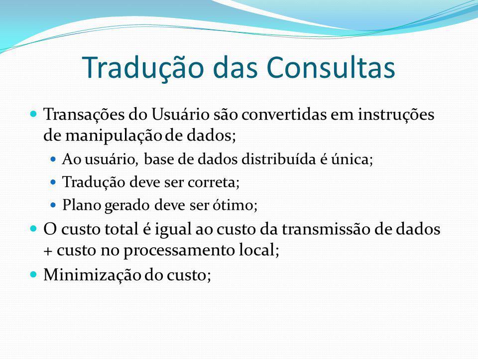 Tradução das Consultas Transações do Usuário são convertidas em instruções de manipulação de dados; Ao usuário, base de dados distribuída é única; Tra
