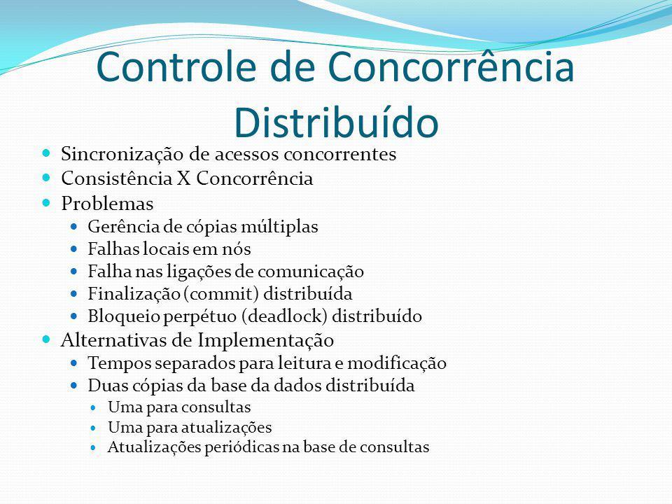 Controle de Concorrência Distribuído Sincronização de acessos concorrentes Consistência X Concorrência Problemas Gerência de cópias múltiplas Falhas l
