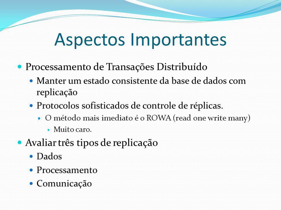 Aspectos Importantes Processamento de Transações Distribuído Manter um estado consistente da base de dados com replicação Protocolos sofisticados de c
