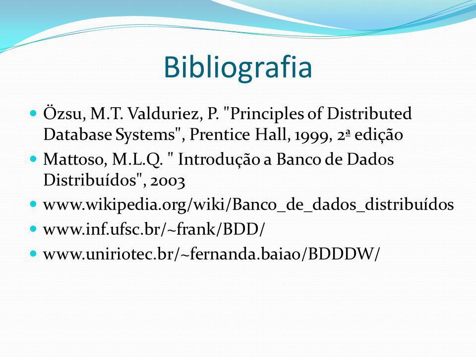 Bibliografia Özsu, M.T. Valduriez, P.
