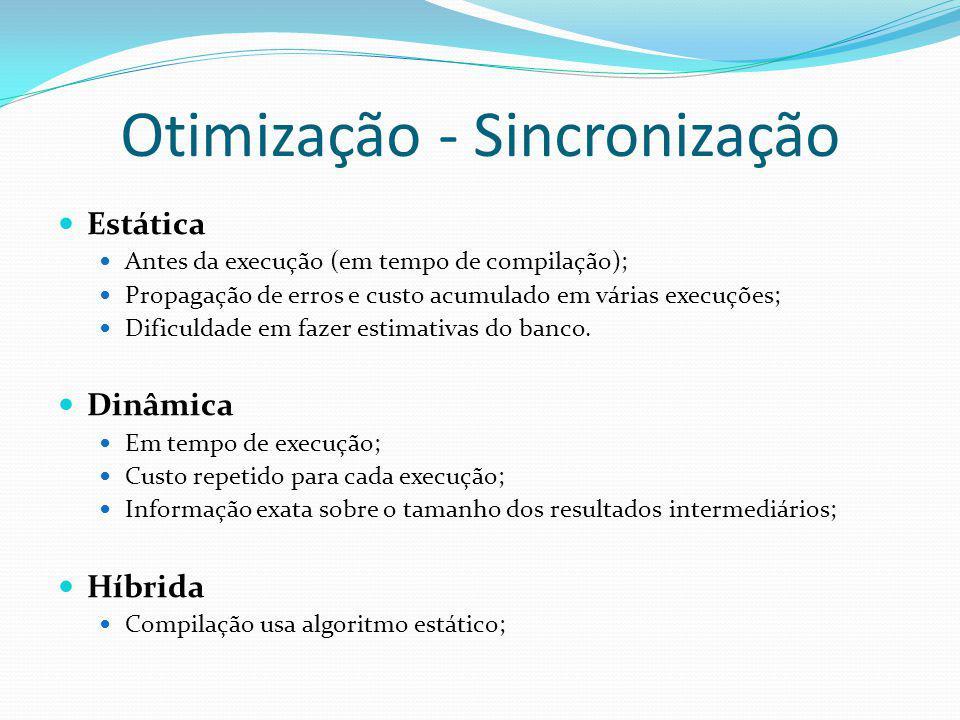 Otimização - Sincronização Estática Antes da execução (em tempo de compilação); Propagação de erros e custo acumulado em várias execuções; Dificuldade