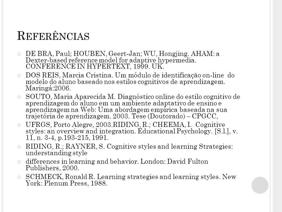 R EFERÊNCIAS DE BRA, Paul; HOUBEN, Geert-Jan; WU, Hongjing. AHAM: a Dexter-based reference model for adaptive hypermedia. CONFERENCE IN HYPERTEXT, 199