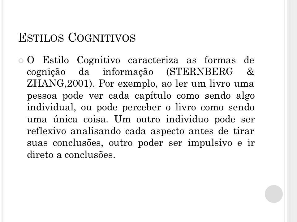 E STILOS C OGNITIVOS O Estilo Cognitivo caracteriza as formas de cognição da informação (STERNBERG & ZHANG,2001). Por exemplo, ao ler um livro uma pes