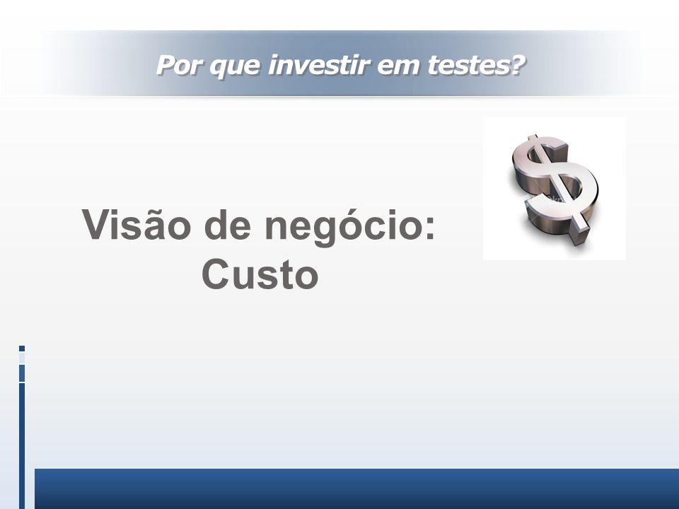 Visão de negócio: Custo Por que investir em testes?