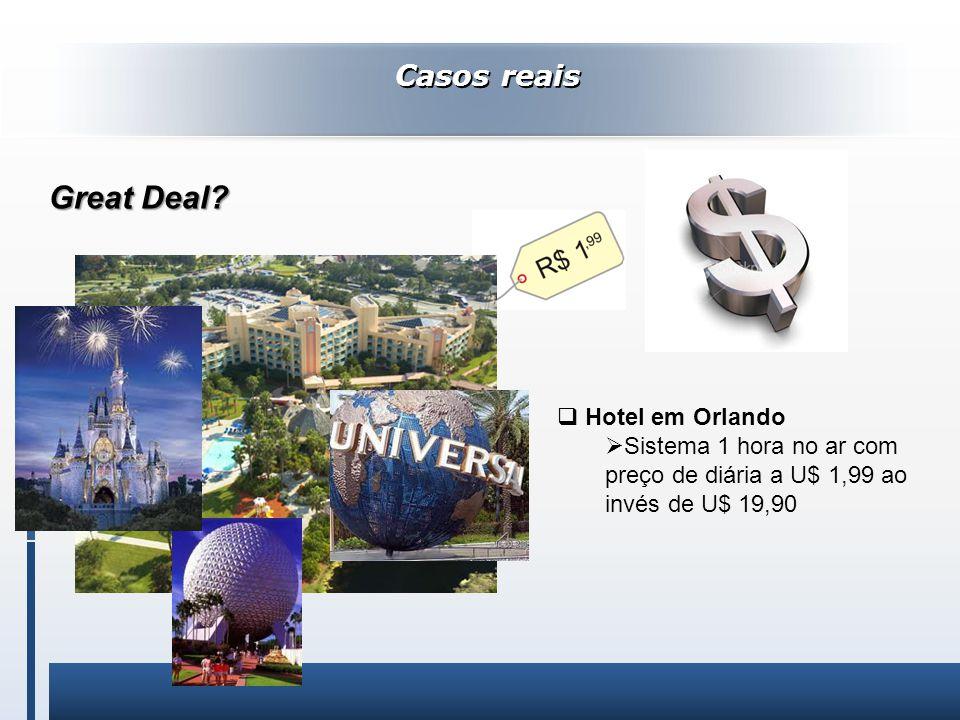 Casos reais Hotel em Orlando Sistema 1 hora no ar com preço de diária a U$ 1,99 ao invés de U$ 19,90 Great Deal? Great Deal?