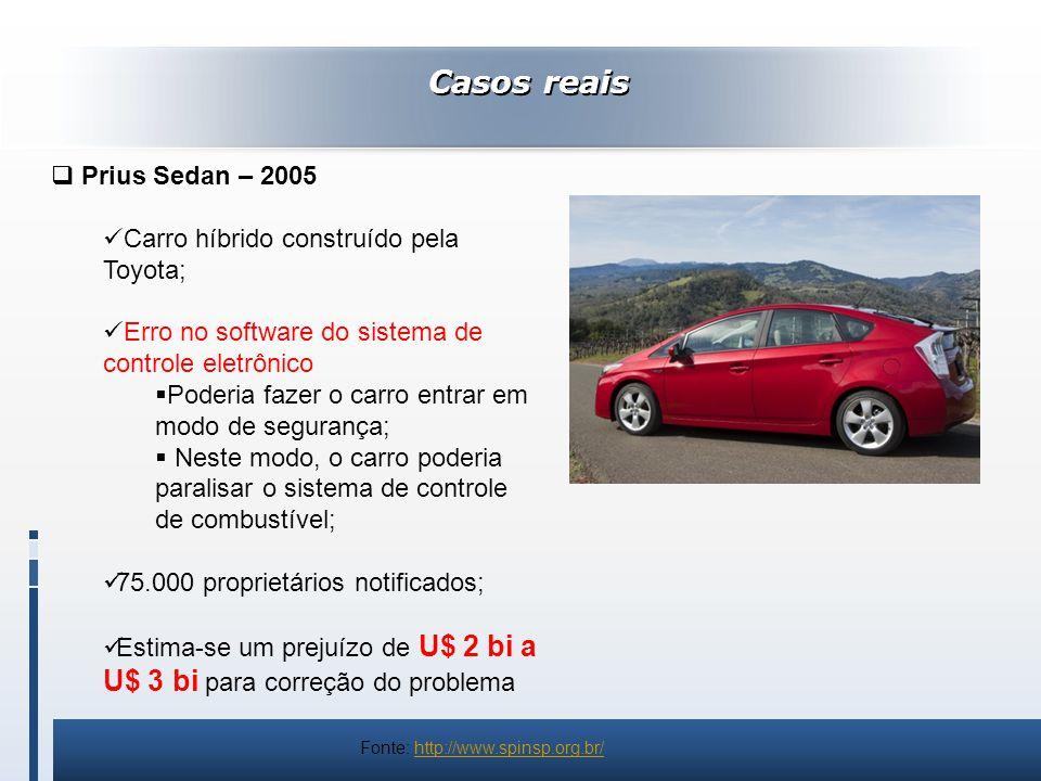 Casos reais Prius Sedan – 2005 Carro híbrido construído pela Toyota; Erro no software do sistema de controle eletrônico Poderia fazer o carro entrar e