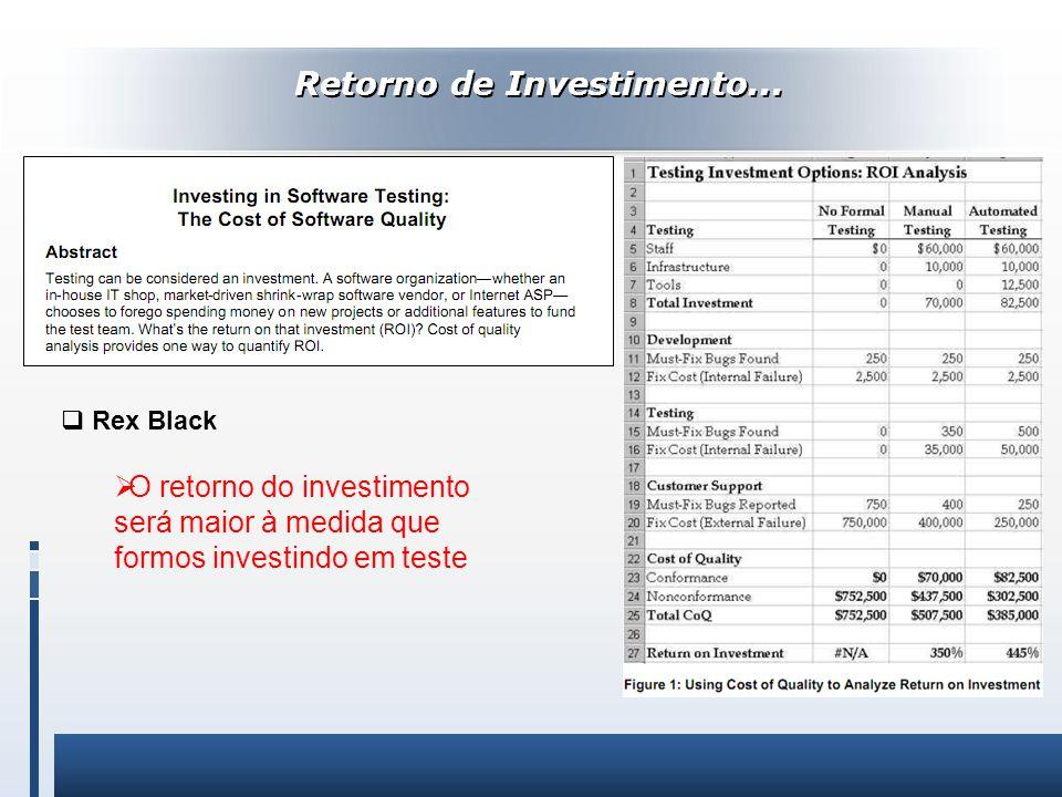 Retorno de Investimento... Rex Black O retorno do investimento será maior à medida que formos investindo em teste