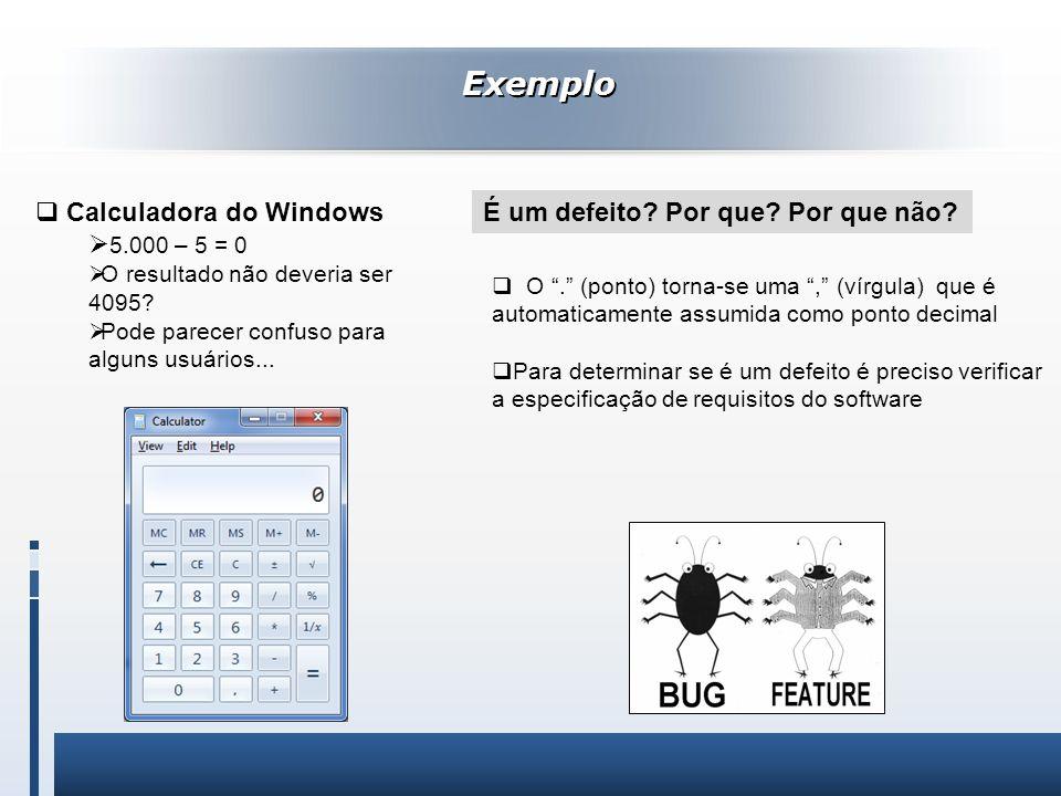 Exemplo Calculadora do Windows 5.000 – 5 = 0 O resultado não deveria ser 4095? Pode parecer confuso para alguns usuários... O. (ponto) torna-se uma, (