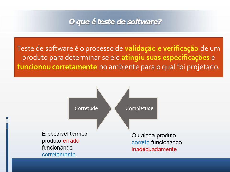 O que é teste de software? Teste de software é o processo de validação e verificação de um produto para determinar se ele atingiu suas especificações