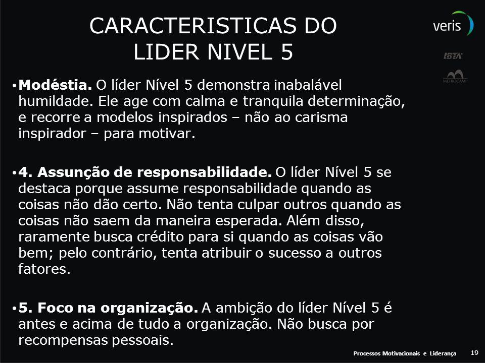 Processos Motivacionais e Liderança 19 CARACTERISTICAS DO LIDER NIVEL 5 Modéstia. O líder Nível 5 demonstra inabalável humildade. Ele age com calma e