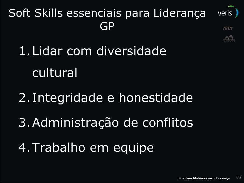 Processos Motivacionais e Liderança 20 Soft Skills essenciais para Liderança GP 1.Lidar com diversidade cultural 2.Integridade e honestidade 3.Adminis